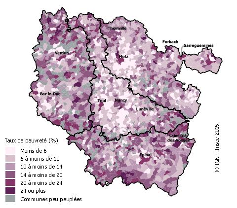 une pauvreté importante dans les villes-centres des grand poles urbains (crédits Insee)