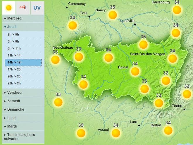 Jeudi sur les Vosges - carte Météo France ©
