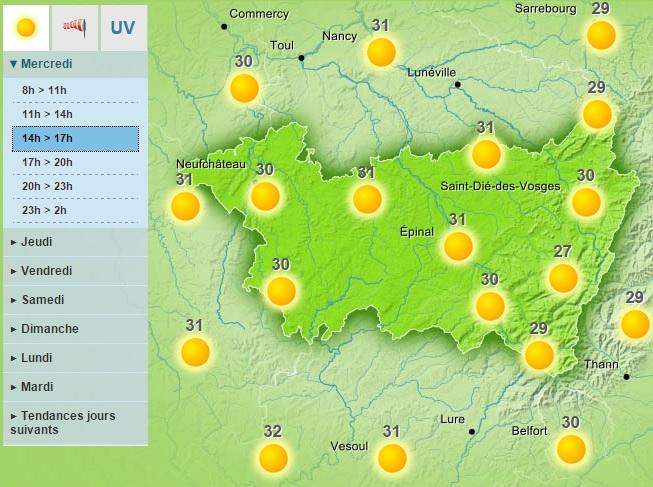 Mercredi sur les Vosges - Carte Météo France©