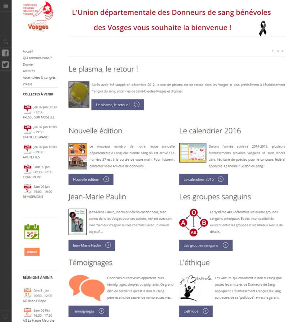 L'interface du nouveau site de l'UD des Donneurs de Sang Bénévoles des Vosges se veut claire et fonctionnelle.