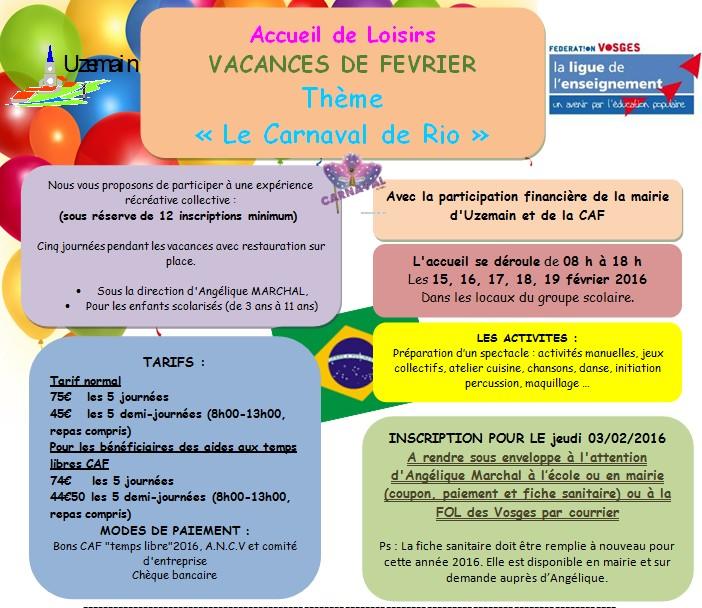 Uzemain - Un centre aéré sur le thème du carnaval de Rio - Epinal infos