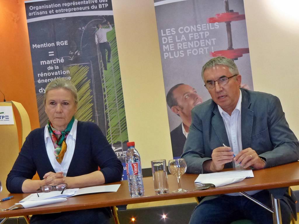 Sylvie Tuaillon, présidente de la FBTP et Guy Calin, vice-président chargé des TP