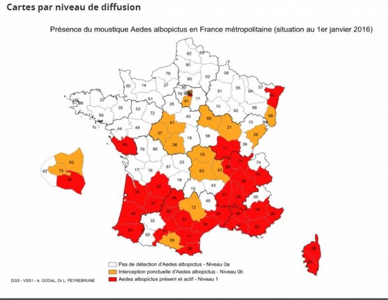 Cartes de présence du moustique tigre (Aedes albopictus) en France métropolitaine (Crédits Ministère de la Santé)