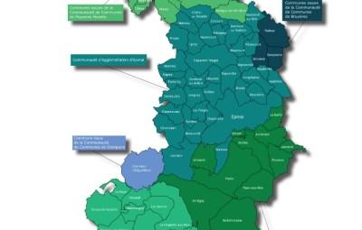 La nouvelle aglomération d'Epinal au 1er janvier 2017 (carte communauté d'agglomération d'Epinal)
