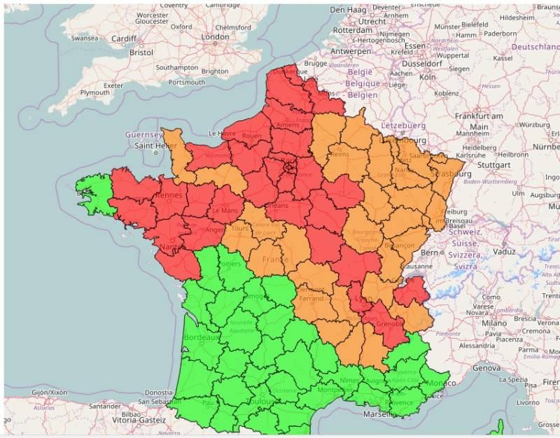 Carte Les épisodes de pollution du jour Laboratoire Central de Surveillance de la Qualité de l'Air (LCSQA)