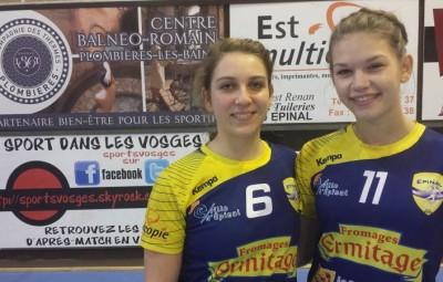 Hand ball filles Camille Gérard et Mathilde Bedon