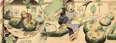 Détail de Les citrouilles baladeuses, Image de Zutna, dessinateur, éditée par Pellerin & Cie, 4e quart 19e siècle – 1er quart 20e siècle © Coll. Musée de l'Image   Ville d'Épinal, cliché H. Rouyer