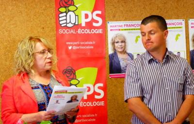 La candidate du PS Martine François et son suppléant