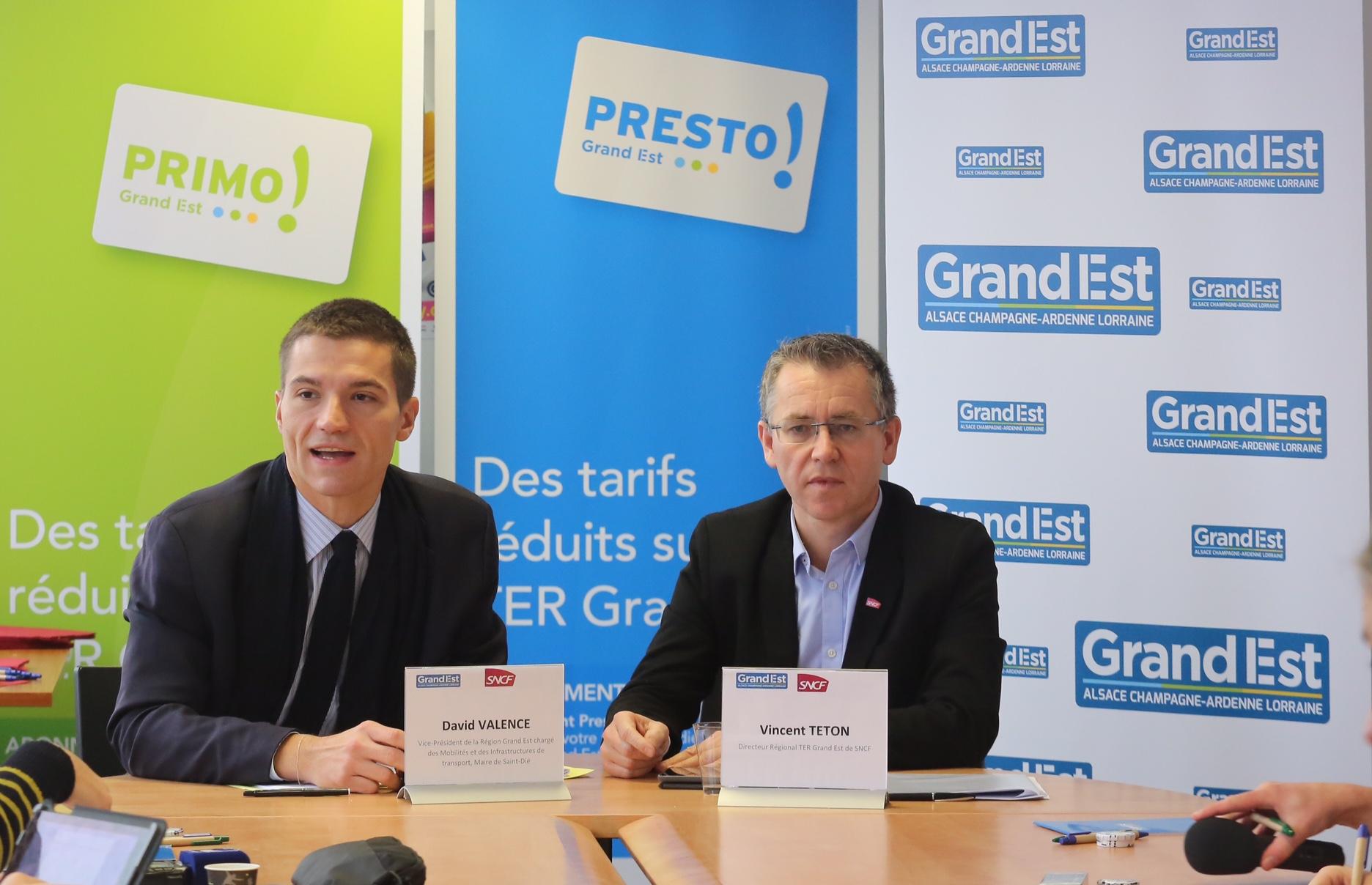 David Valence, Vice-président de la Région Grand Est en charge des Mobilités et des Infrastructures de transport, accompagné de Vincent Téton, Directeur régional TER Grand Est de SNCF.