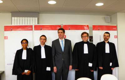(Me Karen Perrin, Me Alexis Côme, Me Cyrille Gauthier, le bâtonnier, Me Alexis Poirot et Me Julien Coulon)