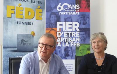 Henry Brin, président et artisan électricien et Sylvie Tuaillon président de la fédération du BTP Vosges