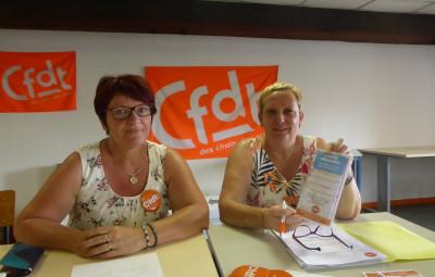 Claudine Bernard et Patricia Hacquard de l'UTI, union territoriale interprofessionnelle CFDT