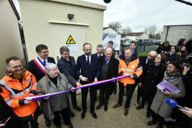 Inauguration du noeud de raccordement optique avec le premier ministre Edouard Philippe à Girancourt (Vosges). PHOTO Eric THIEBAUT Pool Photo VM
