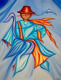 Azur et Or Peinture à l'huile